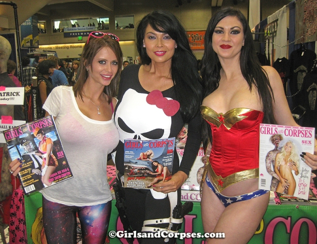 Emily Addison, Tera Patrick and Kendall Karson pose with Girls and Corpses Magazines