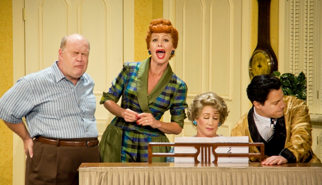 Curtis Pettyjohn (Fred), Sirena Irwin (Lucy), Joanna Daniels (Ethel) and Bill Mendieta (Ricky) in the Chicago production of I LOVE LUCY® LIVE ON STAGE (Photo by JustinBarbin.com)