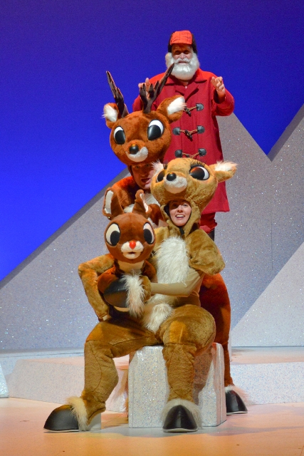 Rudolph the Red-Nosed Reindeer: The Musical (2013) Pictured Front to Back: Emily Ford, Jonathan Bragg, and Doug LoPachin  Photo credit:  ©Karen Almond Photography