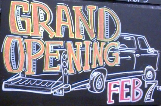 Tailgate Brewery Grand Opening Sign