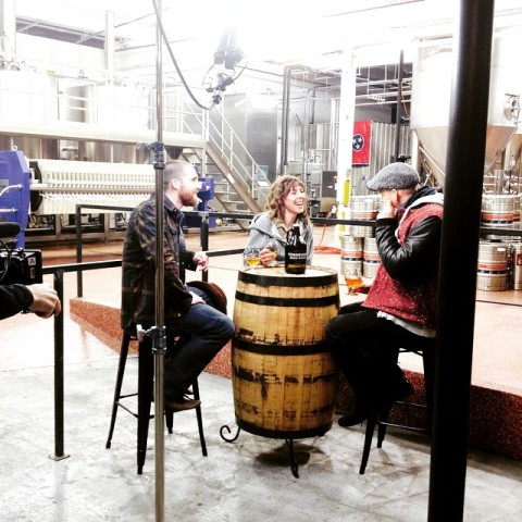 Martin and James from Brew Dogs chat with Laura. Photo courtesy of Tennessee Brew Works
