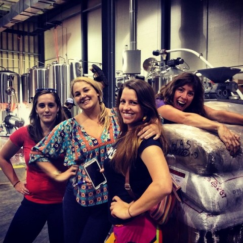 Danielle Daniel, Nina Ritchie and Kaitlyn Smous visit with Laura. Photo courtesy of Tennessee Brew Works