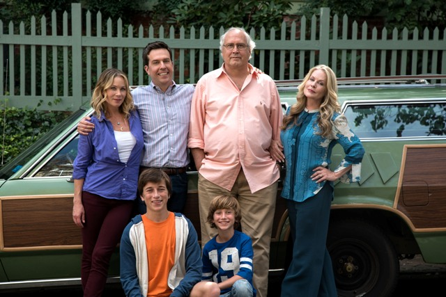 """Photo Credit: Hopper Stone (L-r) CHRISTINA APPLEGATE as Debbie Griswold, SKYLER GISONDO as James Griswold, ED HELMS as Rusty Griswold, STEELE STEBBINS as Kevin Griswold, CHEVY CHASE as Clark Griswold and BEVERLY D'ANGELO as Ellen Griswold in New Line Cinema's comedy """"VACATION,"""" a Warner Bros. Pictures' release."""