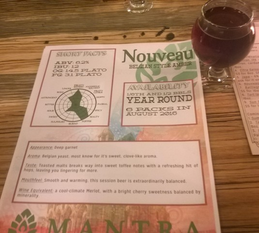 Mantra Nouveau craft beer