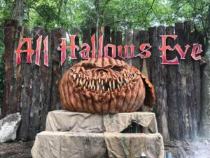 Giant scary pumpkin at Nashville Haunted Woods