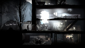 Screenshot from This War of Mine showing the basic layout of the shelter