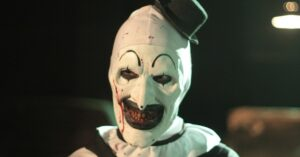 Terrifier clown smiling