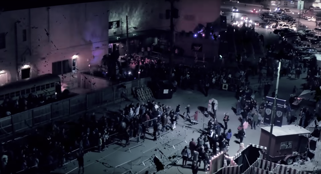 Aerial view taken by drone of Nashville Nightmare haunted attraction
