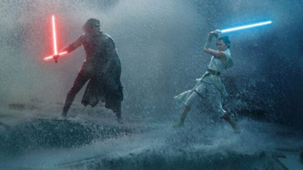 Kylo Ren fights Ren Palpatine in a rainy lightsaber battle from Star Wars Rise of Skywalker