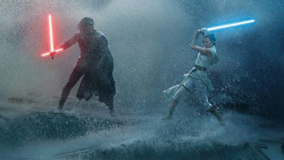Kylo Ren fights Ren Palpatine in a rainy lightsaber battle from Star Wars Rise of Skywalker