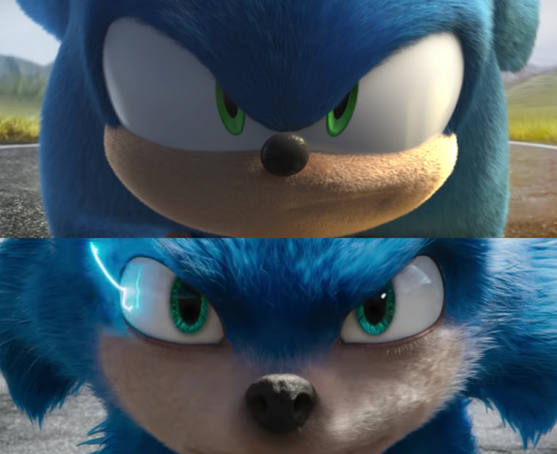 two views of Sonic the Hedgehog,with the old video rendering on top along with the new rendering on bottom