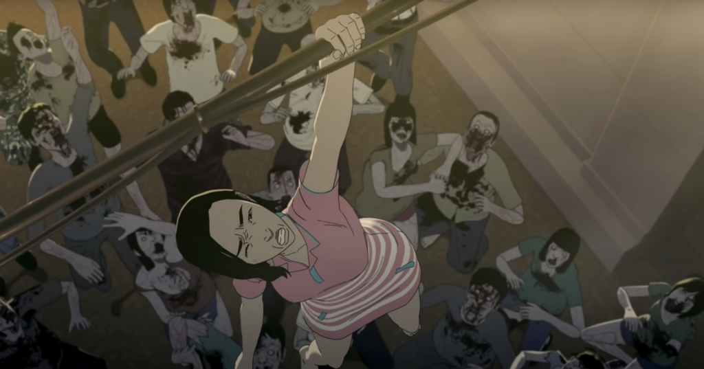 Woman holds on by one hand to rope above multiple zombies in animated scene