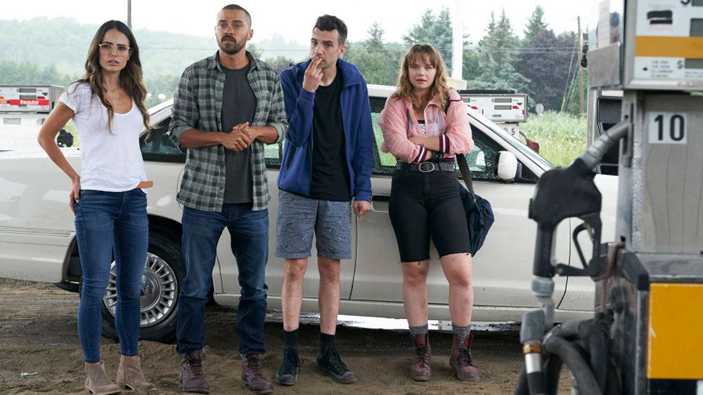 Jordana Brewster, Jesse Williams, Jay Baruchel, and Niamh Wilson stand in beside their car looking off camera